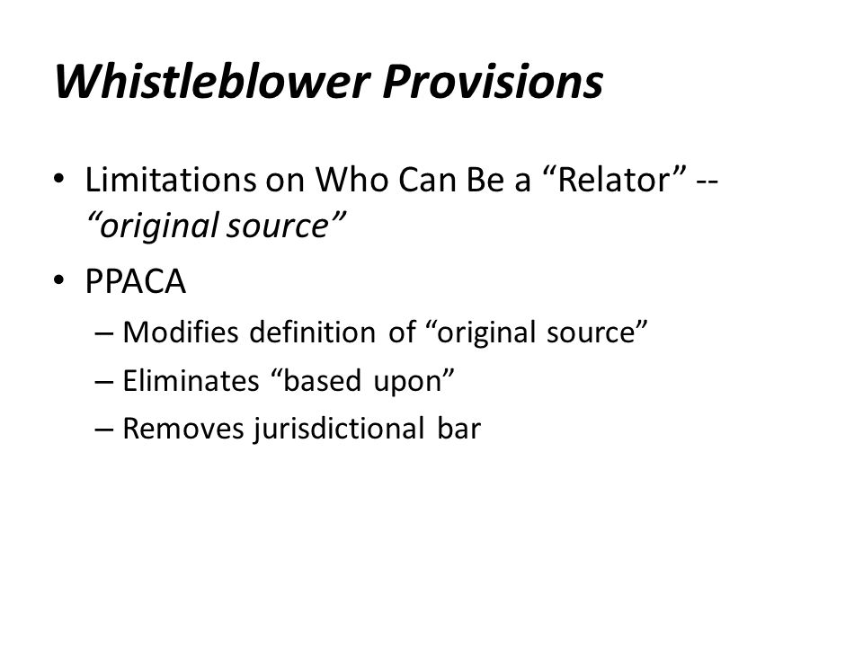 Whistleblower Provisions