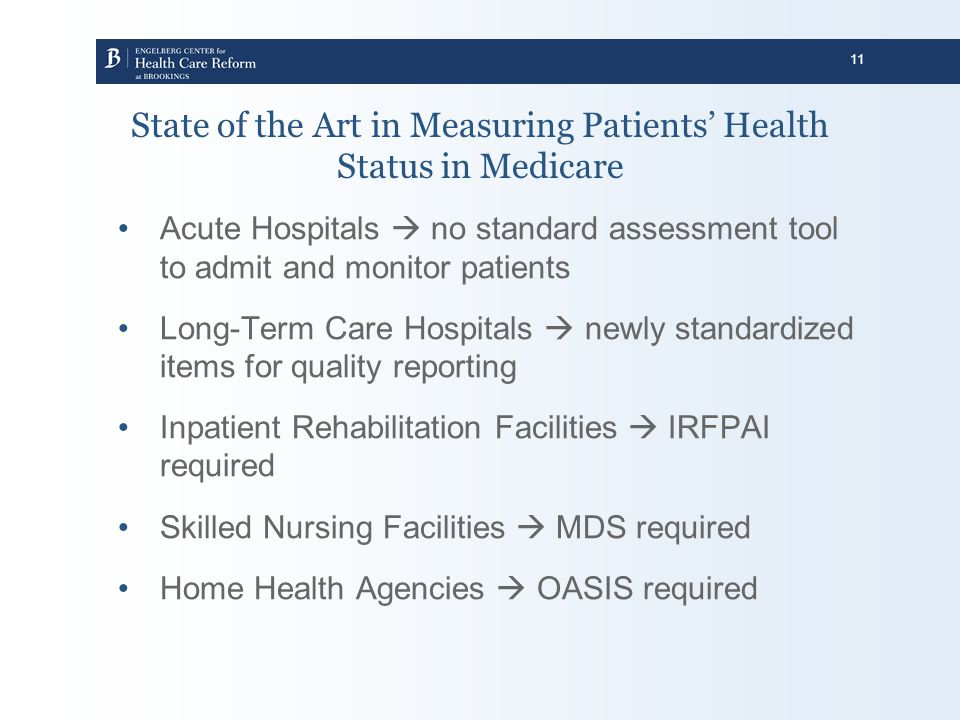 State of the Art in Measuring Patients' Health Status in Medicare