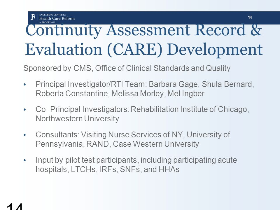 Continuity Assessment Record & Evaluation (CARE) Development