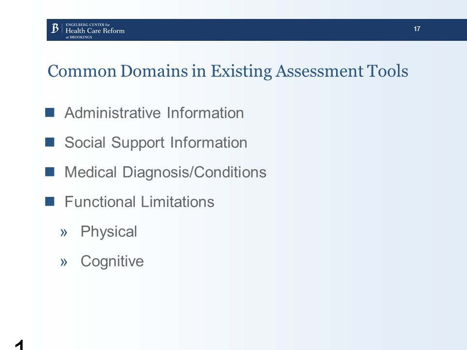 Common Domains in Existing Assessment Tools