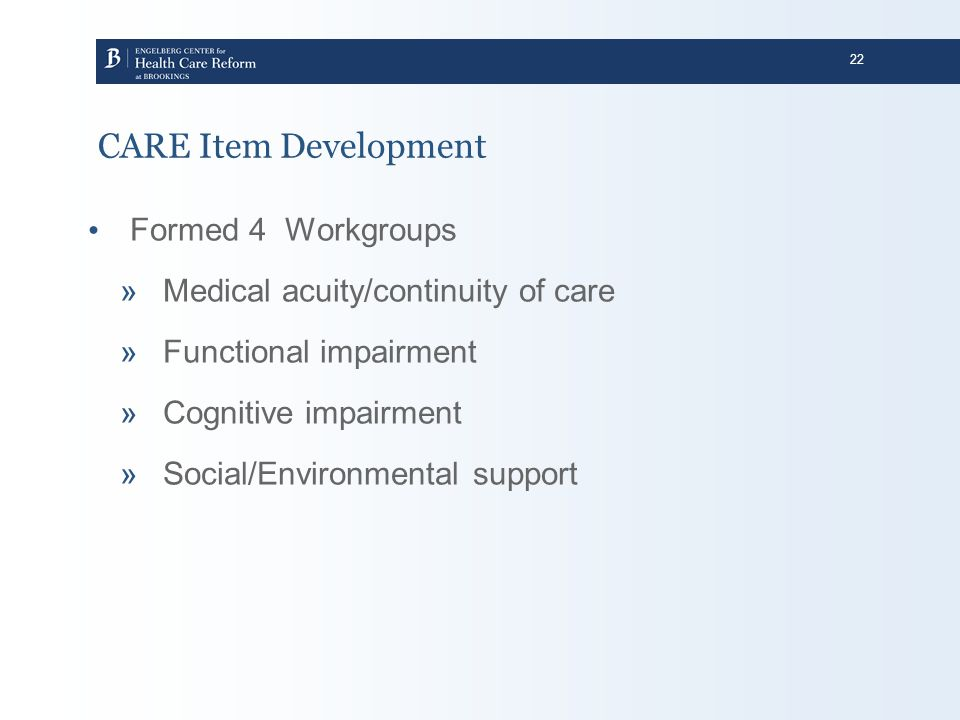 CARE Item Development Formed 4 Workgroups