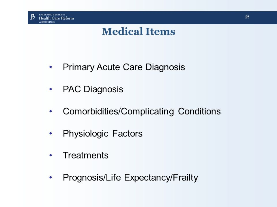 Medical Items Primary Acute Care Diagnosis PAC Diagnosis