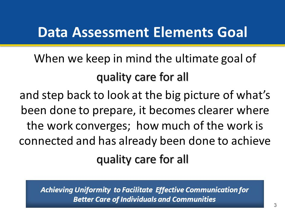 Data Assessment Elements Goal
