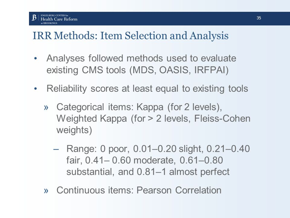 IRR Methods: Item Selection and Analysis
