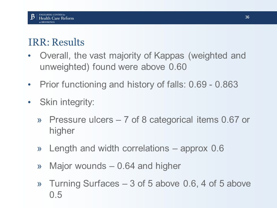 IRR: Results Overall, the vast majority of Kappas (weighted and unweighted) found were above 0.60.