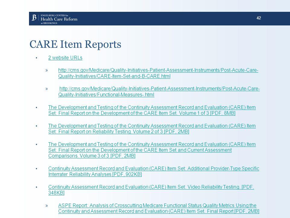 CARE Item Reports 2 website URLs