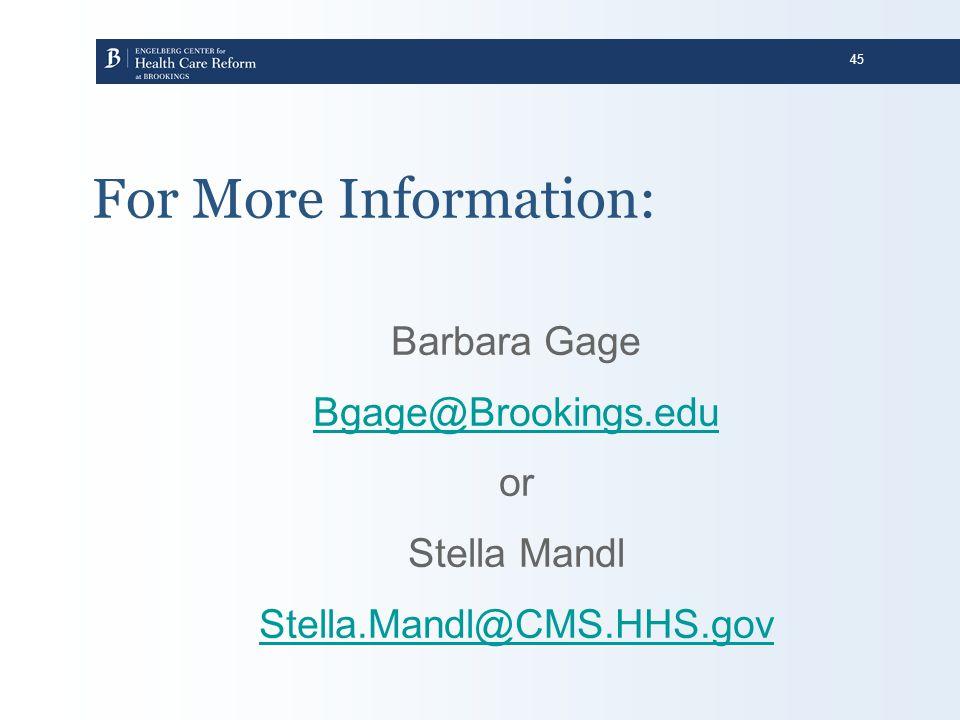 For More Information: Barbara Gage Bgage@Brookings.edu or Stella Mandl