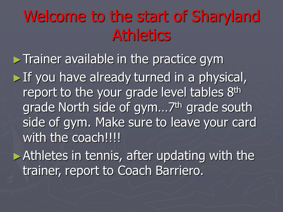 Welcome to the start of Sharyland Athletics