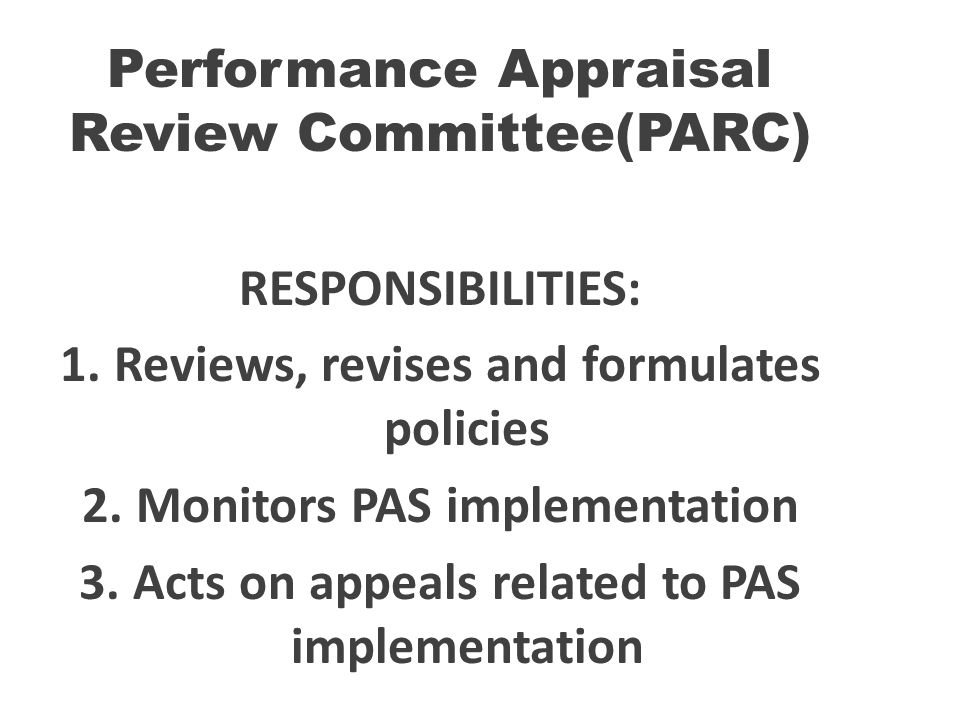 Performance Appraisal Review Committee(PARC)