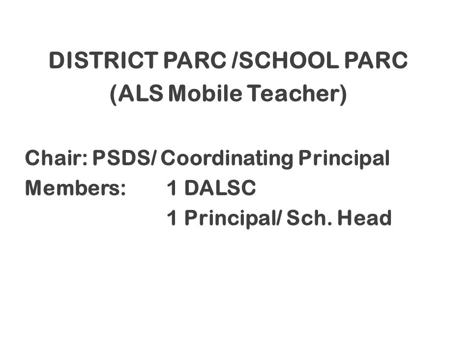 DISTRICT PARC /SCHOOL PARC