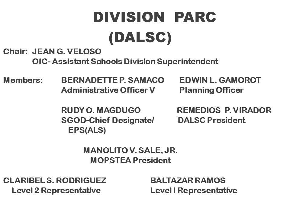 (DALSC) DIVISION PARC Chair: JEAN G. VELOSO