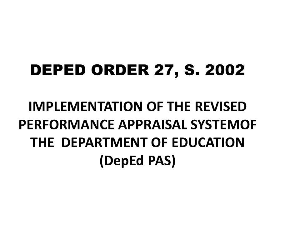DEPED ORDER 27, S.