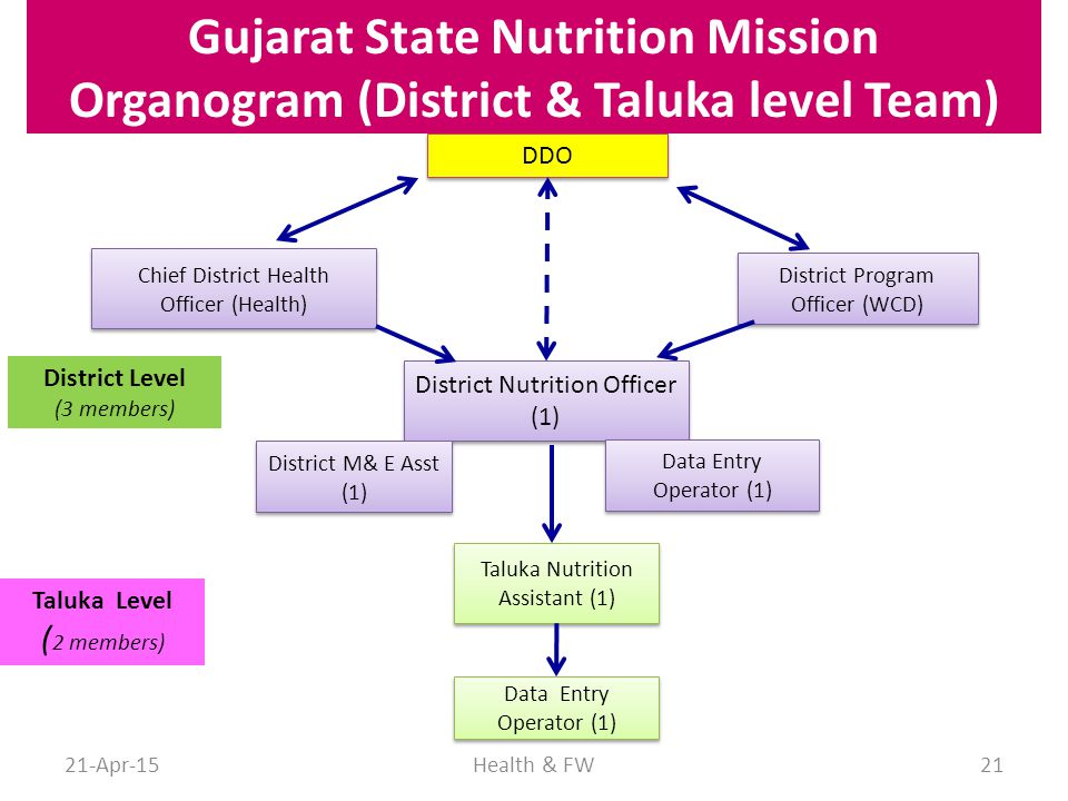 Gujarat State Nutrition Mission Organogram (District & Taluka level Team)