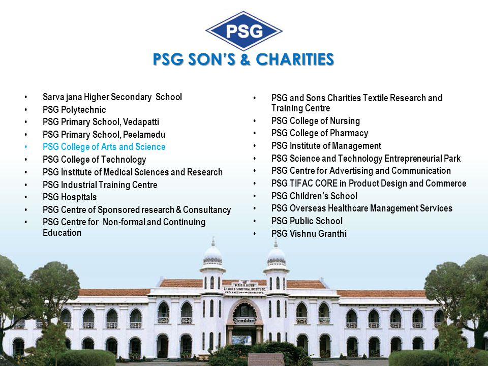 PSG SON'S & CHARITIES Sarva jana Higher Secondary School