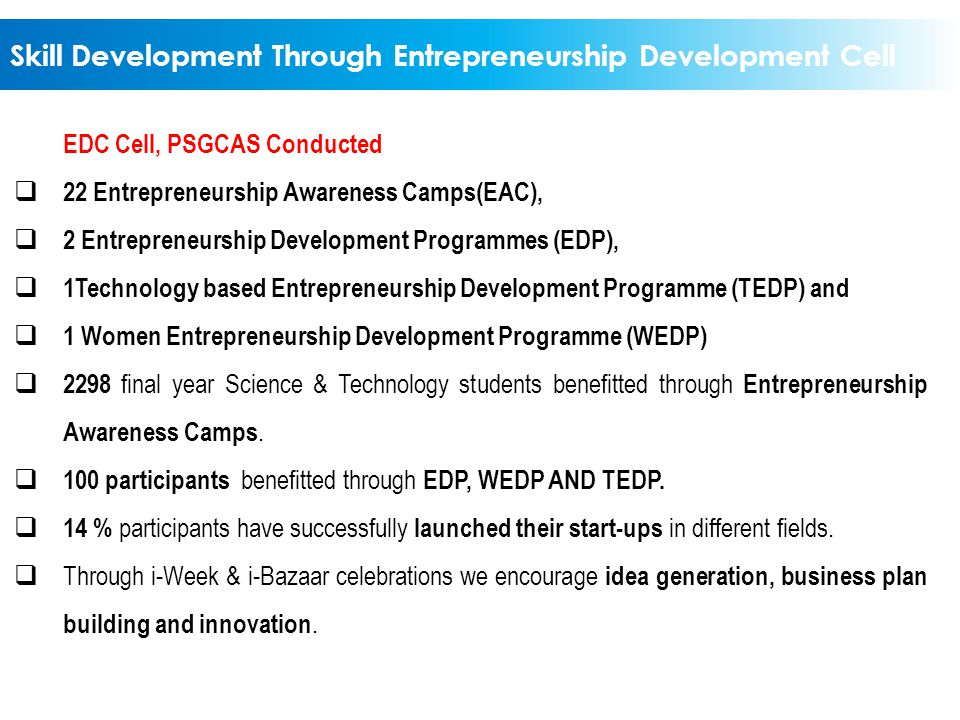 Skill Development Through Entrepreneurship Development Cell