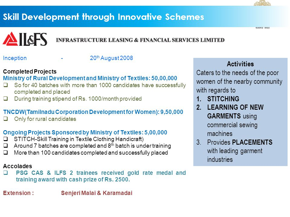 Skill Development through Innovative Schemes