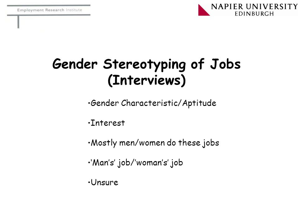 Gender Stereotyping of Jobs (Interviews)