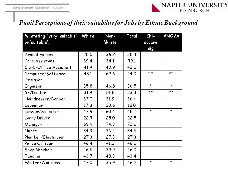 Pupil Perceptions of their suitability for Jobs by Ethnic Background