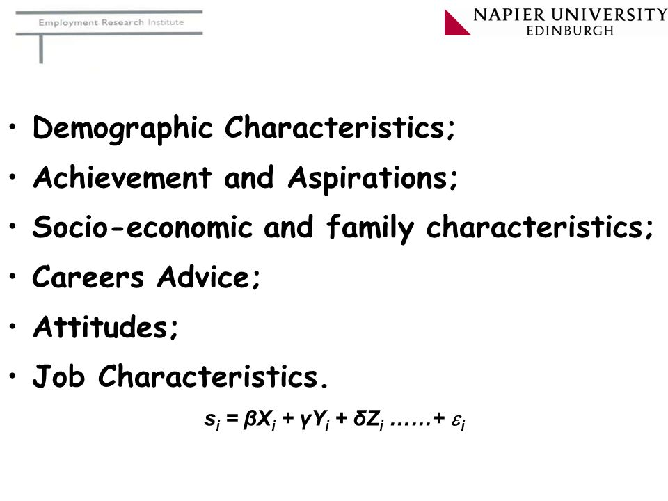 Demographic Characteristics; Achievement and Aspirations;