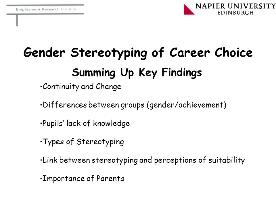 Gender Stereotyping of Career Choice