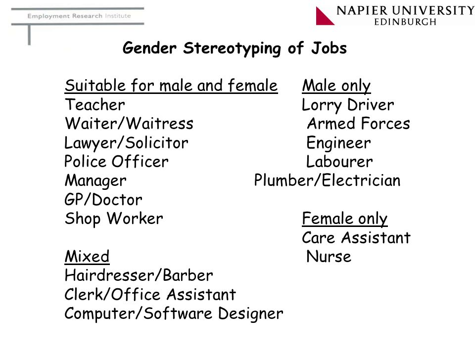 Gender Stereotyping of Jobs