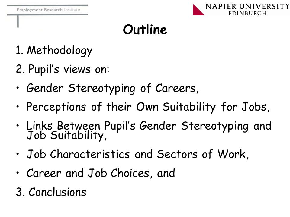 Outline 1. Methodology 2. Pupil's views on: