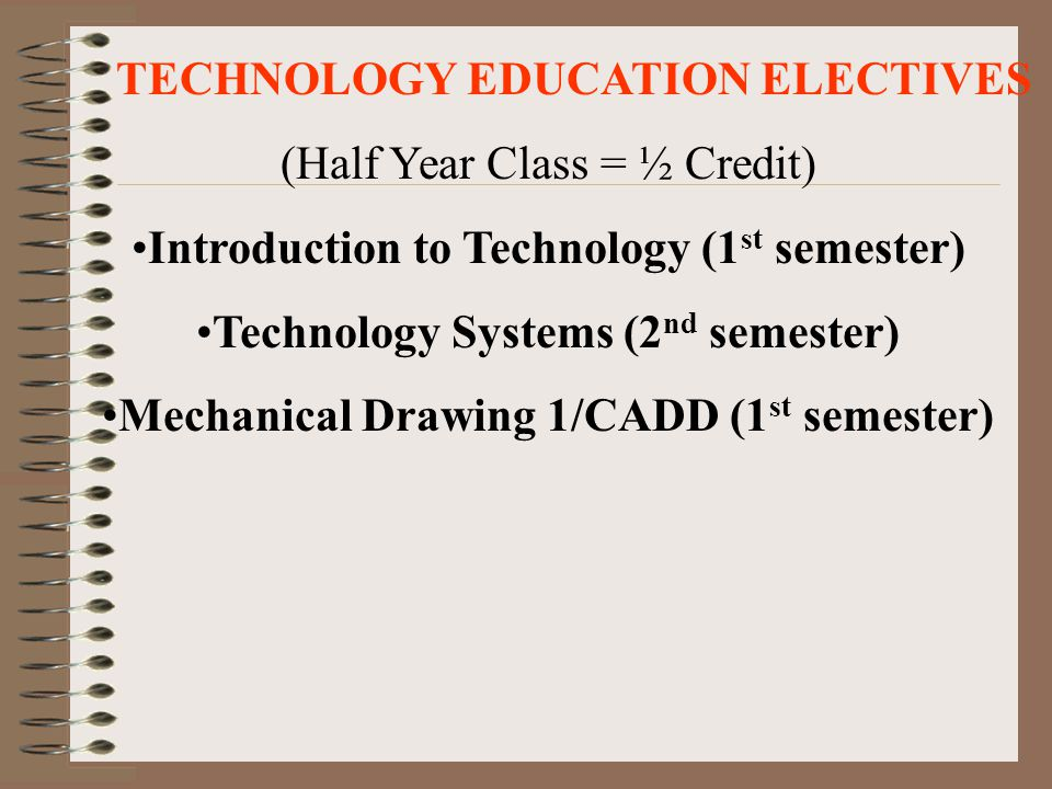 TECHNOLOGY EDUCATION ELECTIVES (Half Year Class = ½ Credit)