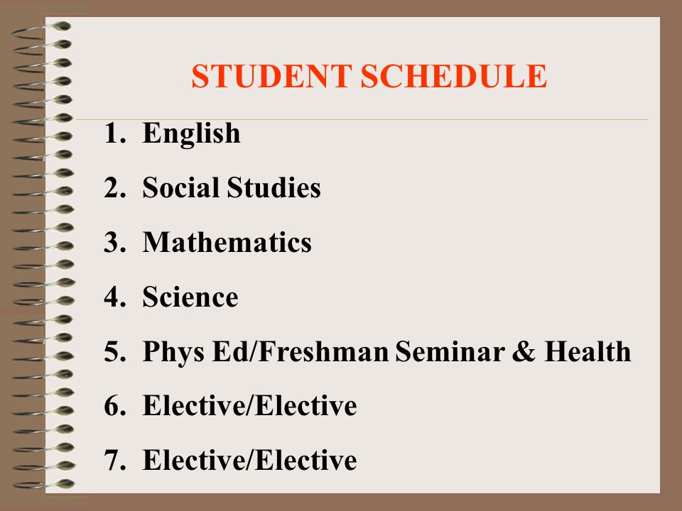 STUDENT SCHEDULE 1. English 2. Social Studies 3. Mathematics