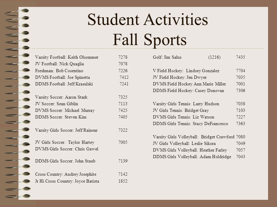 Student Activities Fall Sports