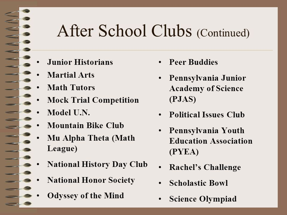 After School Clubs (Continued)