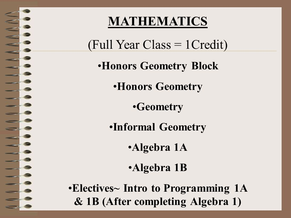 Electives~ Intro to Programming 1A & 1B (After completing Algebra 1)