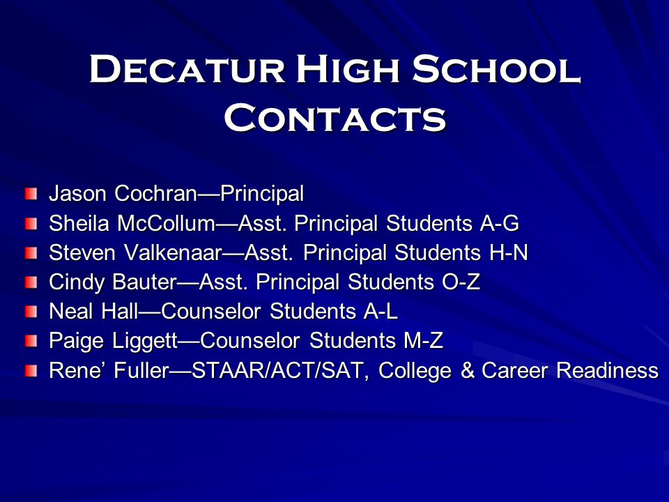 Decatur High School Contacts