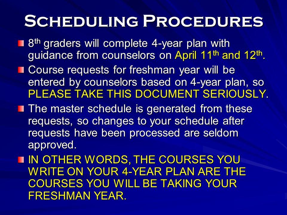 Scheduling Procedures