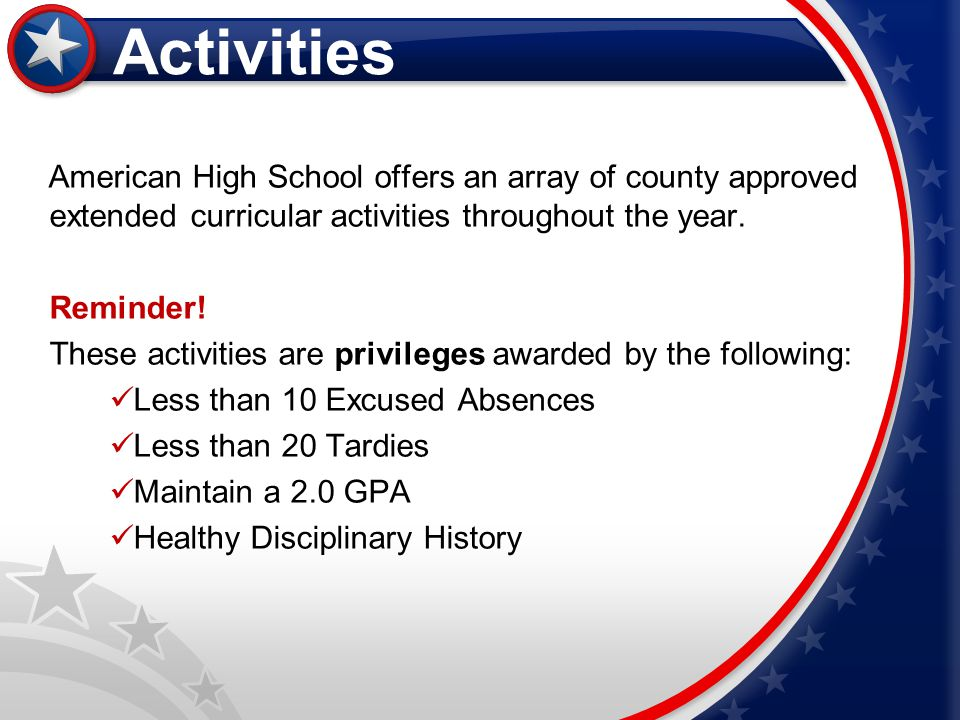 Activities American High School offers an array of county approved extended curricular activities throughout the year.