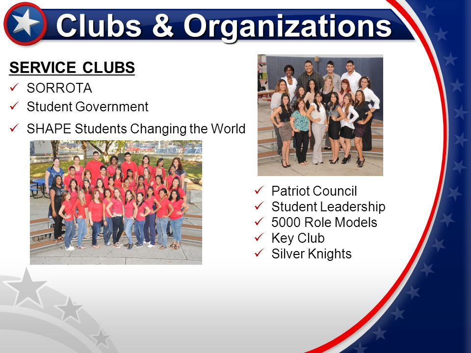 Clubs & Organizations SERVICE CLUBS SORROTA Student Government