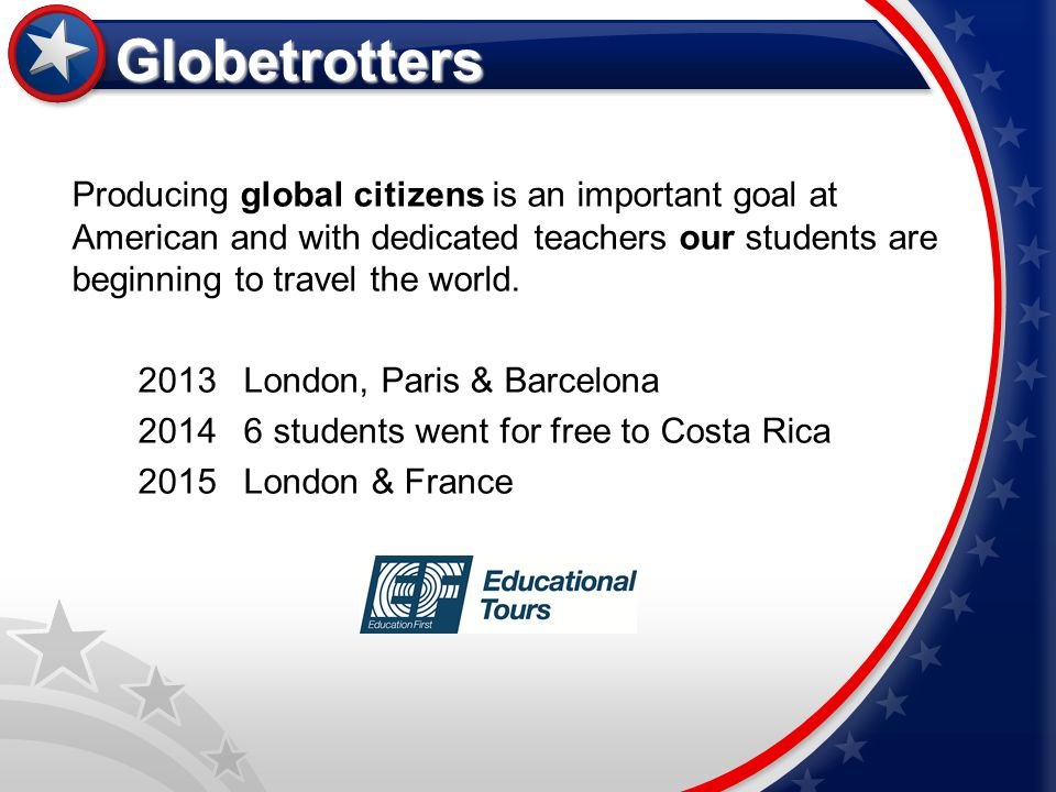 Globetrotters Producing global citizens is an important goal at American and with dedicated teachers our students are beginning to travel the world.