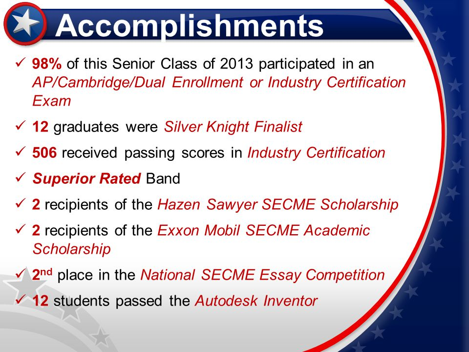 Accomplishments 98% of this Senior Class of 2013 participated in an AP/Cambridge/Dual Enrollment or Industry Certification Exam.