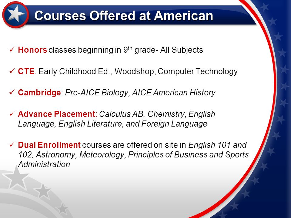 Courses Offered at American