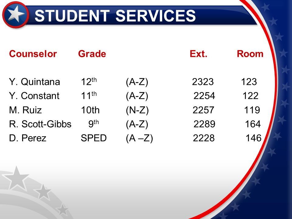 STUDENT SERVICES Counselor Grade Ext. Room