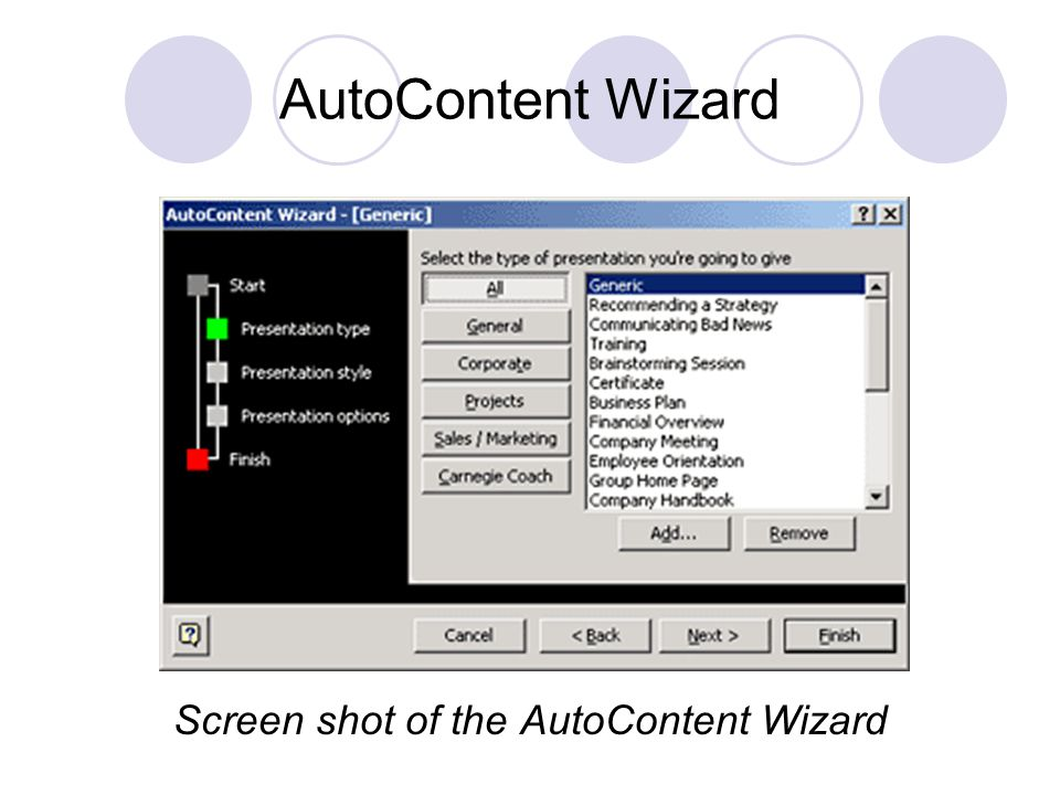 Screen shot of the AutoContent Wizard