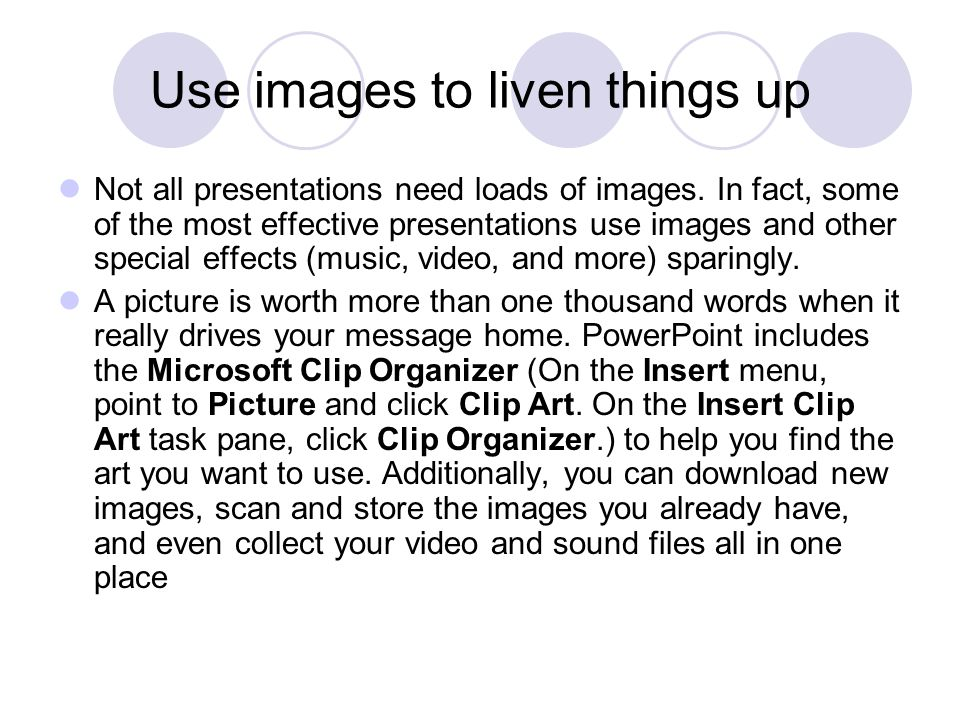 Use images to liven things up