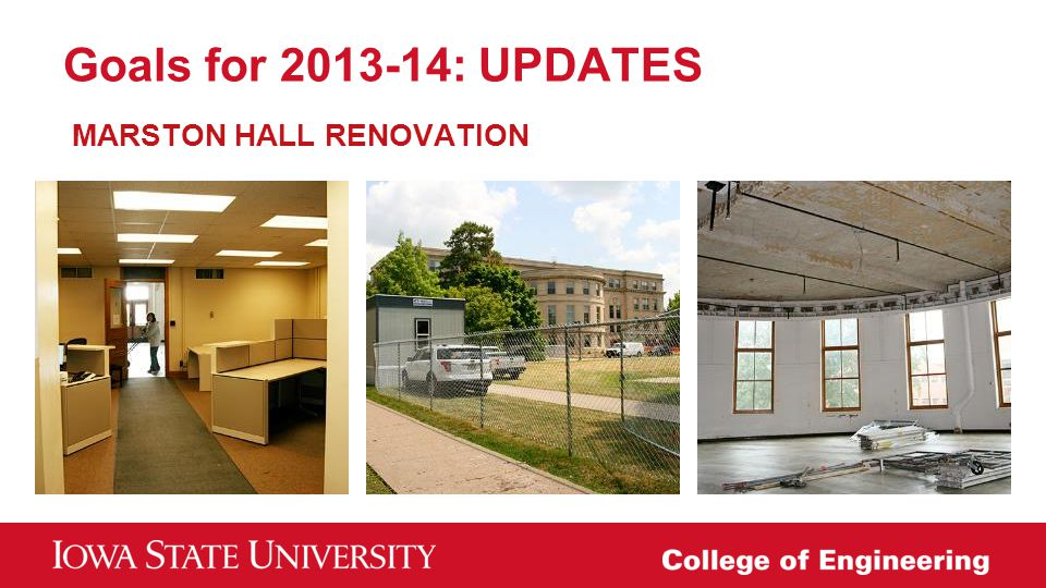 Goals for 2013-14: UPDATES MARSTON HALL RENOVATION
