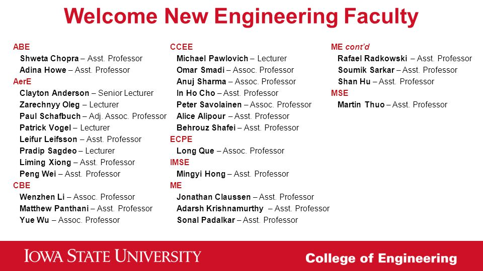 Welcome New Engineering Faculty