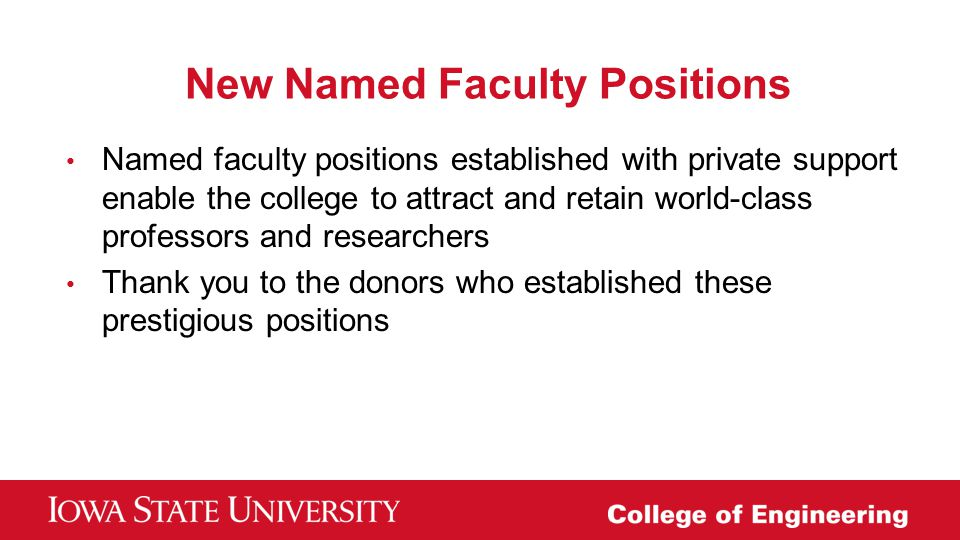 New Named Faculty Positions
