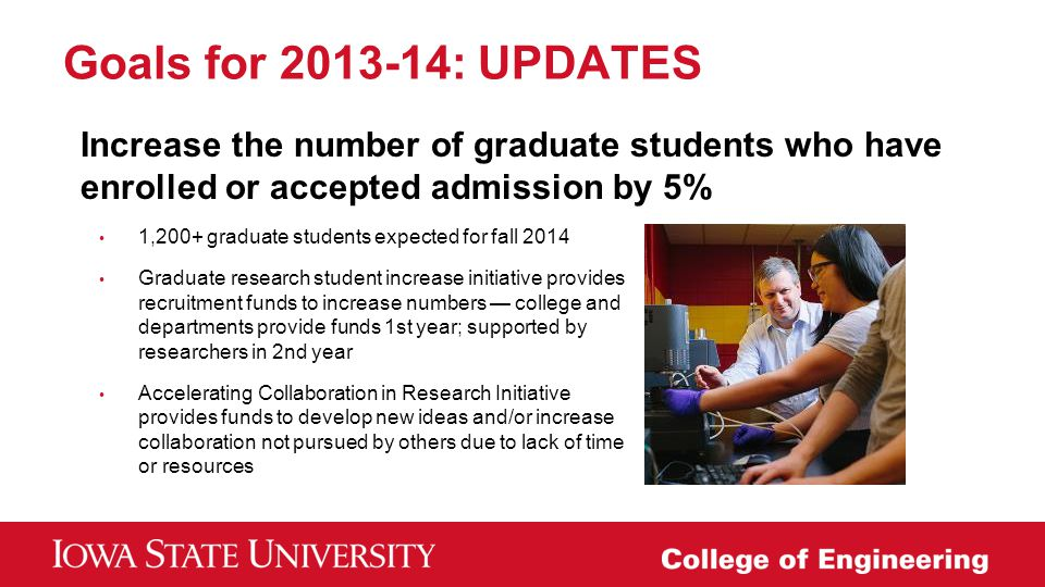 Goals for 2013-14: UPDATES Increase the number of graduate students who have enrolled or accepted admission by 5%