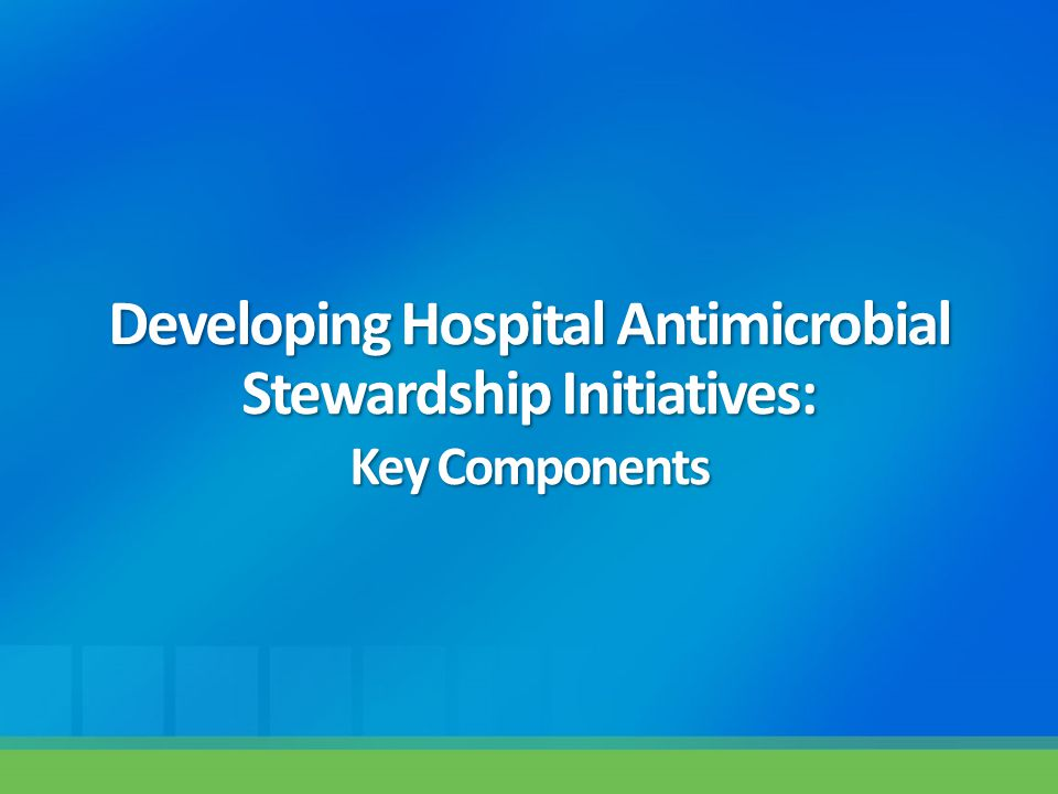 Developing Hospital Antimicrobial Stewardship Initiatives: Key Components