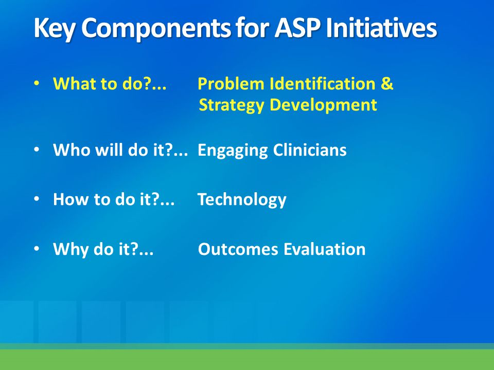 Key Components for ASP Initiatives