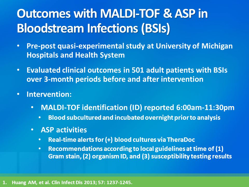 Outcomes with MALDI-TOF & ASP in Bloodstream Infections (BSIs)