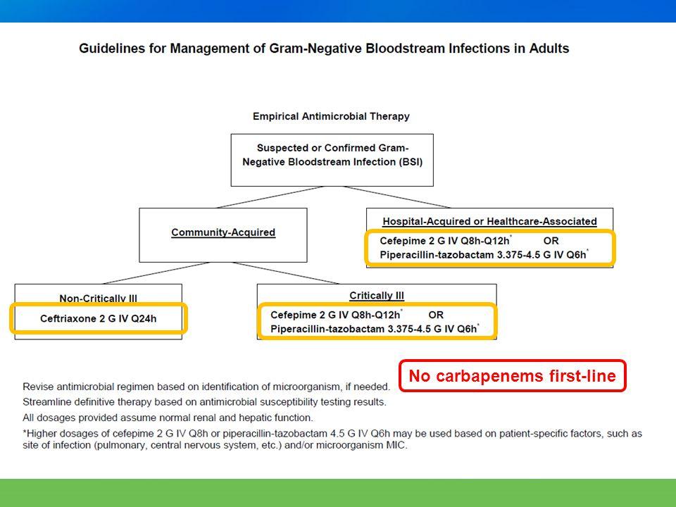 GN BSI JJ – transition missing carbapenems No carbapenems first-line