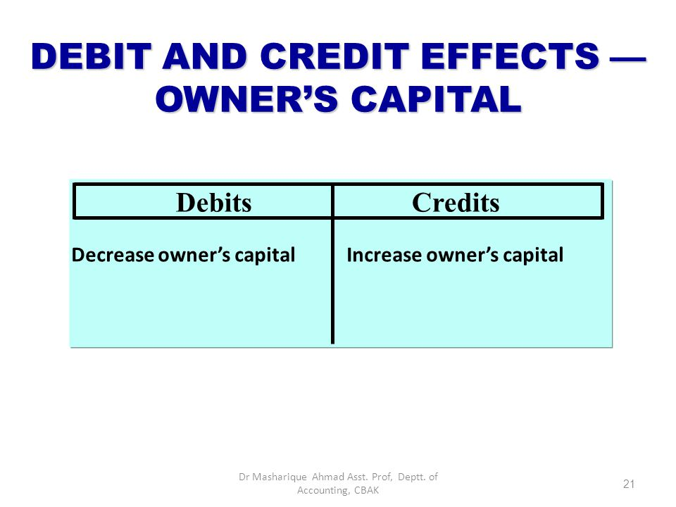 DEBIT AND CREDIT EFFECTS — OWNER'S CAPITAL